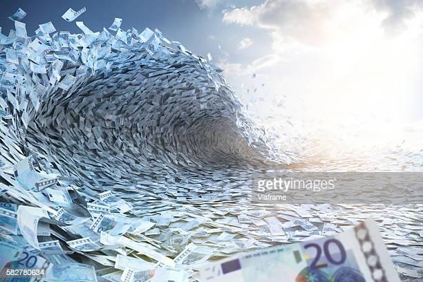 wave built of euro banknotes - geld verdienen stock-fotos und bilder