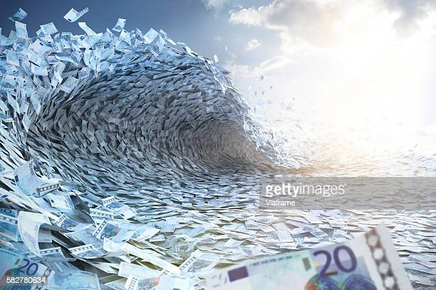 Wave built of Euro banknotes