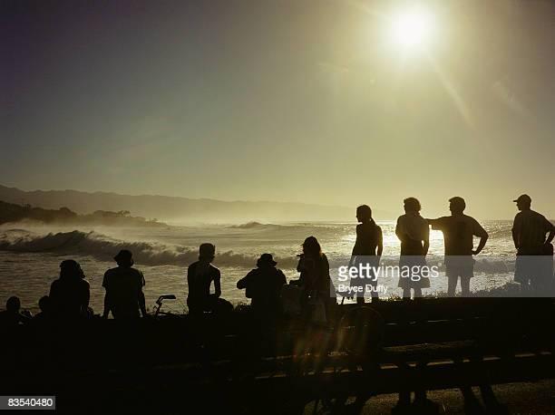 wave crashing in waimea bay, hawaii - waimea bay stock pictures, royalty-free photos & images
