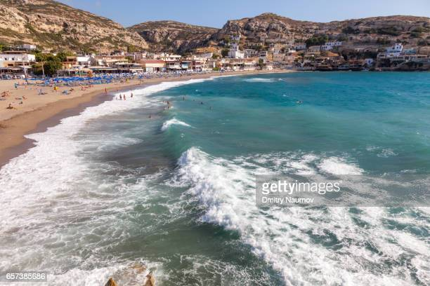 Wave crashing on a beach at Matala, Heraklion, Crete,  Greece, Mediterranean