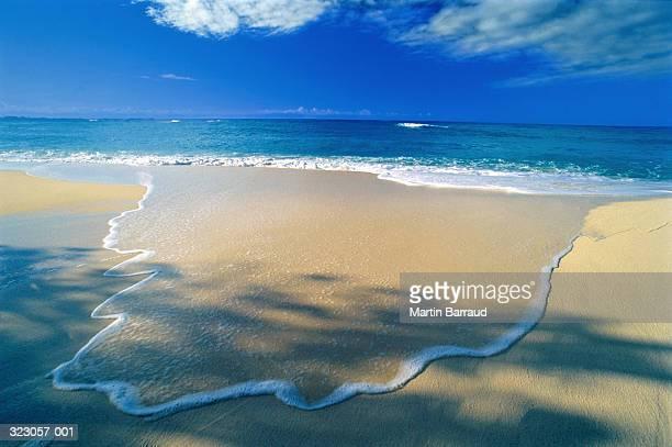 Wave flowing across sandy beach