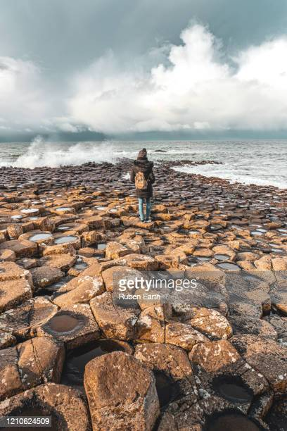 a wave hits the basalt column landscape - coastal feature stock pictures, royalty-free photos & images