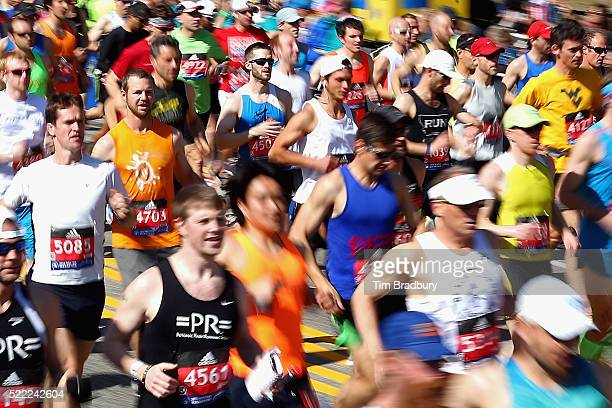 Wave One runners start the 120th Boston Marathon on April 18 2016 in Hopkinton Massachusetts