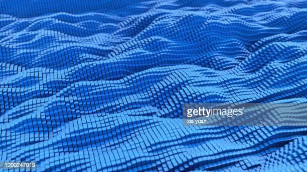 a wave pattern of blue cubes - compuesto digital fotografías e imágenes de stock