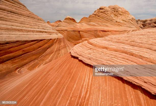 wave pattern on slickrock sandstone on the paria plateau in arizona - rock formation stock pictures, royalty-free photos & images