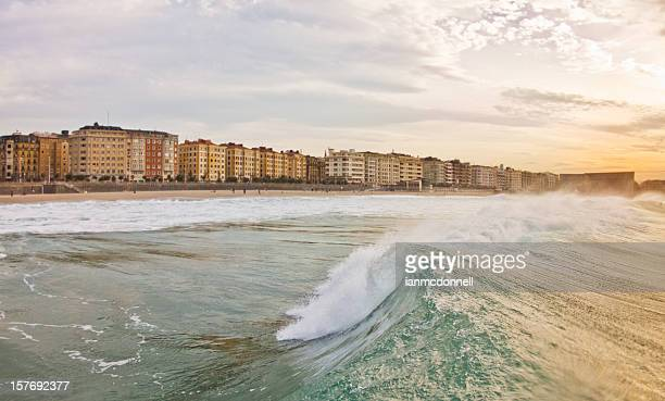 wave - san sebastian spain stock pictures, royalty-free photos & images