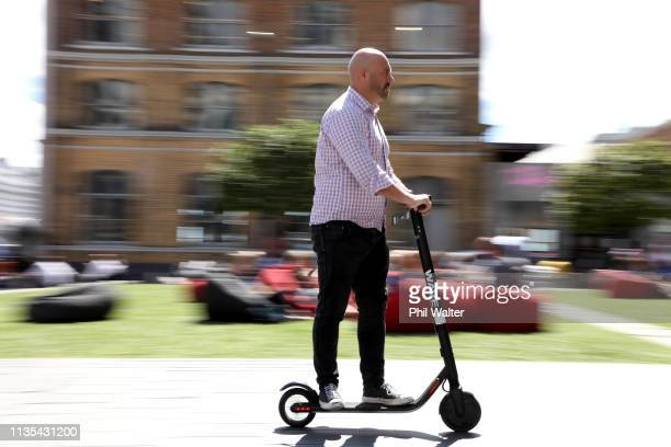 Wave scooter is seen in the Auckland CBD on March 13 2019 in Auckland New Zealand Wave has entered the escooter trial in Auckland five months after...