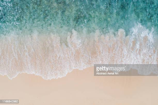 wave textures washing onto a caribbean beach shot from above, barbados - water's edge stock pictures, royalty-free photos & images
