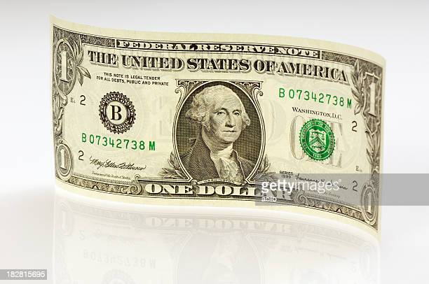 waved one dollar bill with reflection - american one dollar bill stock pictures, royalty-free photos & images