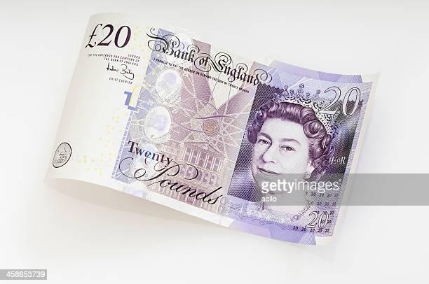 Waved twenty pound note / british currency