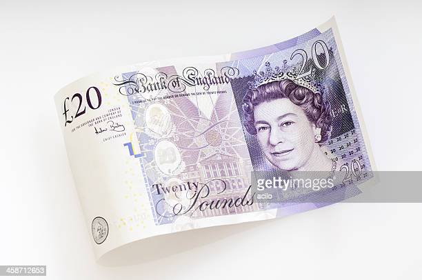 waved twenty pound note / british currency - british pound sterling note stock pictures, royalty-free photos & images