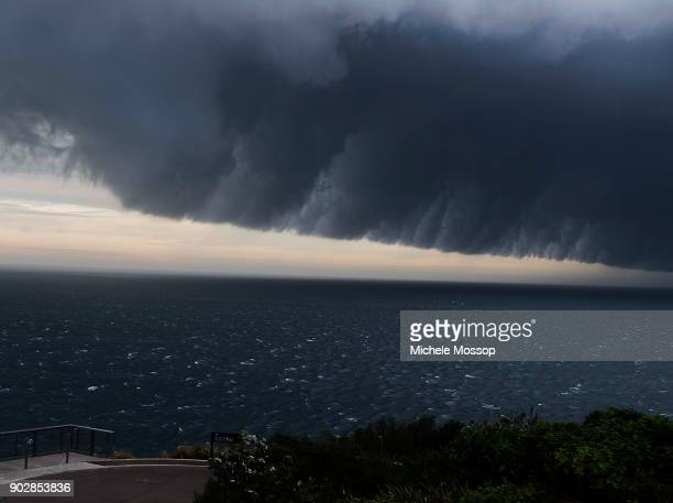 Waverley cemetery looks out on the storm front sweeping up the NSW coast on January 9 2018 in Sydney Australia Heavy wind rain and severe hailstorms...
