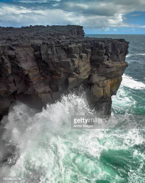 waves and cliffs, westman islands, iceland - power in nature stock pictures, royalty-free photos & images