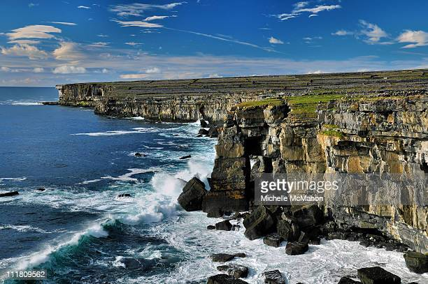 waves and cliffs..aran islands - dun aengus stock pictures, royalty-free photos & images