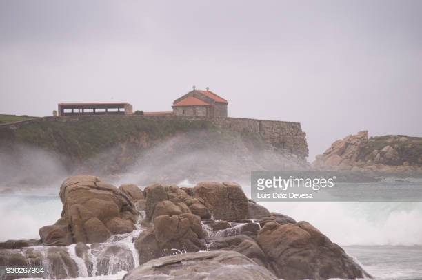 waves at surfing beach lanzada - pontevedra province stock photos and pictures
