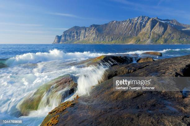 Waves at the rocky coastline, Austvagoy, Lofoten, Norway, Scandinavia