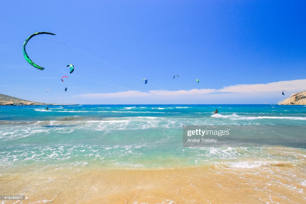 Waves at the shore of Mediterranean Sea viewed from Prasonisi beach, Rhodes, Greece : Stock Photo