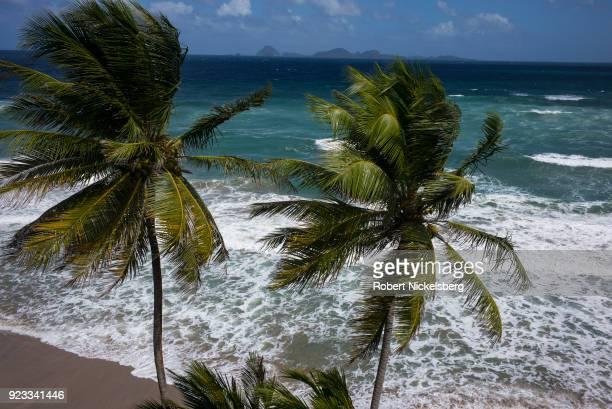 Waves break on a beach below the Petite Anse Hotel February 11 2018 in Sauteurs Grenada