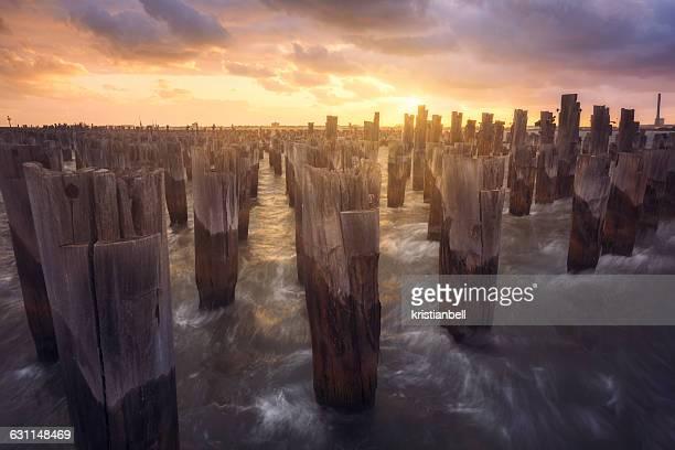Waves breaking against wooden pier pilings, Melbourne, Victoria, Australia