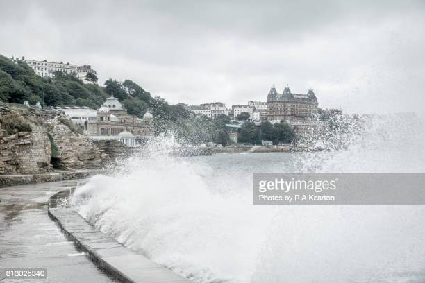 waves breaking on a stormy day, scarborough, north yorkshire - scarborough uk stock photos and pictures