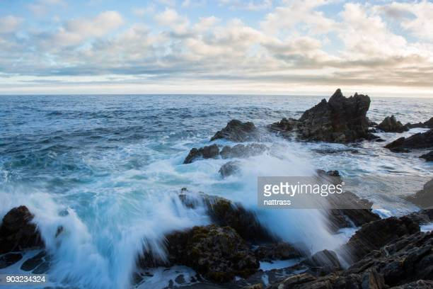 waves breaking over the rocks at sunset - uncultivated stock pictures, royalty-free photos & images