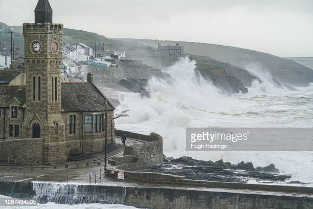Waves cased by Storm Ellen strike the south west coast on August 21, 2020 at Porthleven, Helston, Cornwall, United Kingdom. The Met Office extended a...