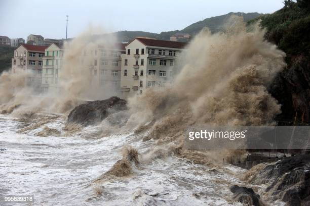 Waves caused by typhoon Maria batter the coast near Wenling east China's Zhejiang province on July 11 2018 / China OUT