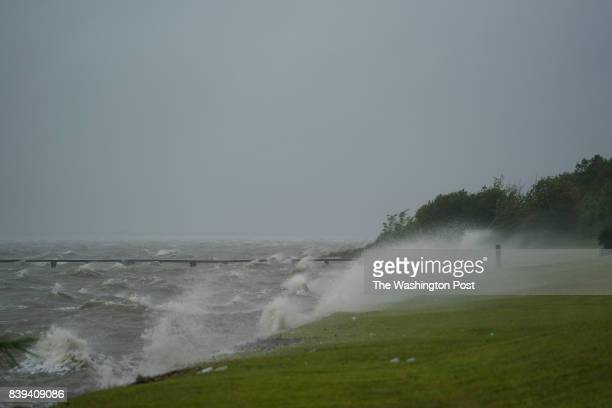 Waves crash against the coast as Hurricane Harvey intensifies in the Gulf of Mexico in Port Lavaca TX on Friday Aug 25 2017