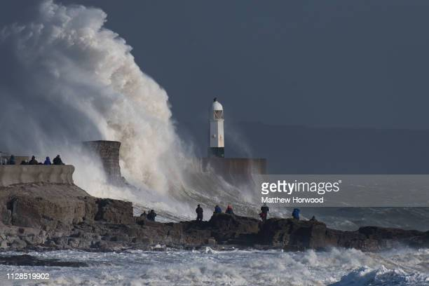 Waves crash against the harbour wall during Storm Freya on March 3 at Porthcawl Wales The Met Office have issued a yellow weather warning for wind...