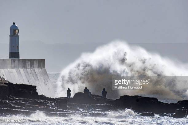 Waves crash against the harbour wall during Storm Gareth on March 13 at Porthcawl Wales The Met Office have issued a yellow weather warning for wind...