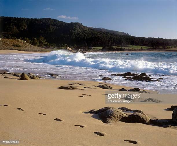 Waves Crash On South Carmel River Beach Also Known As Monastery Beach Carmel California