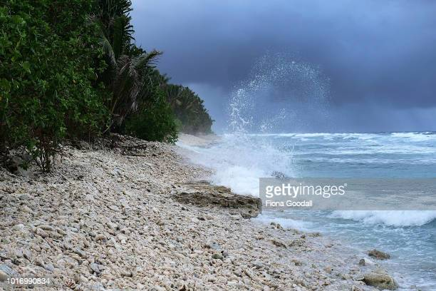 Waves crash on the coral at the southern end of the main island on August 15 2018 in Funafuti Tuvalu The area is vulnerable from storm surges after a...