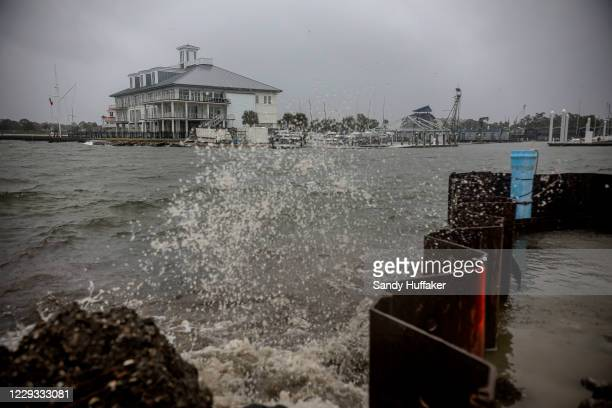 Waves crash over Lake Pontchartrain as Hurricane Zeta makes landfall on October 28, 2020 in New Orleans, Louisiana. A record seven hurricanes have...
