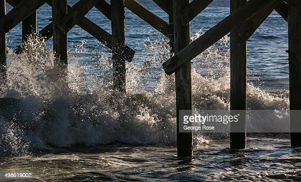 Waves crash through pier pilings along the Santa Barbara County coast on October 23 at Gaviota State Beach California Because of its close proximity...