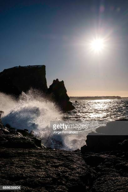 Waves crashing against the rocks in the peninsula of Reykjanes on a sunny day