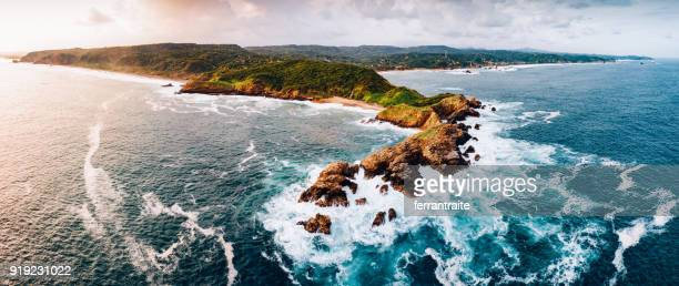 waves crashing on oaxaca coast mexico - oaxaca stock pictures, royalty-free photos & images