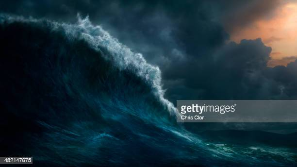 waves crashing on stormy sea - storm stock pictures, royalty-free photos & images