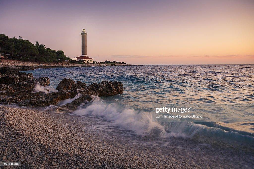 Waves Crashing On The Beach At Sunset Dugi Otok Dalmatia Croatia