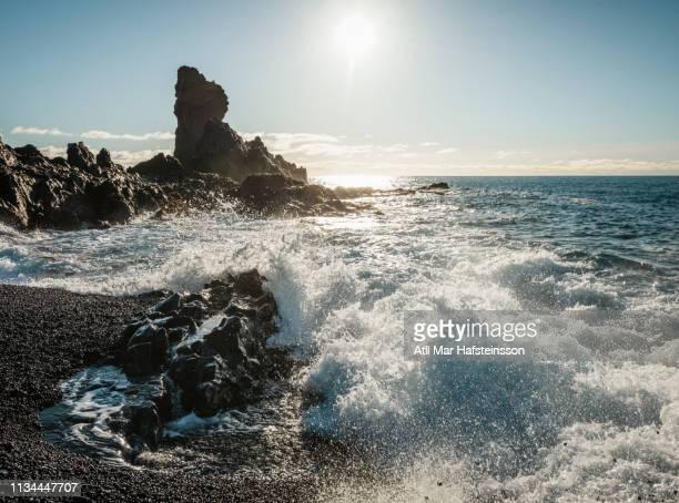 Waves crashing onto rocks, Djupalonssandur, Snaefellsnes, Iceland