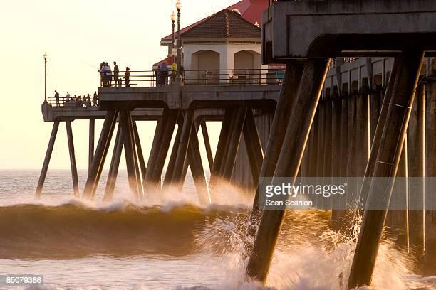 Waves Crashing Underneath Huntington Beach Pier