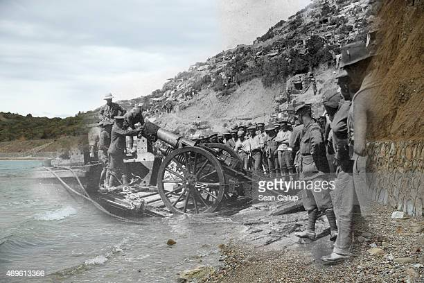 This digital composite images shows troops landing at Anzac Cove during the Gallipoli campaign and Anzac Cove on April 7 2015 ECEABAT TURKEY APRIL 07...