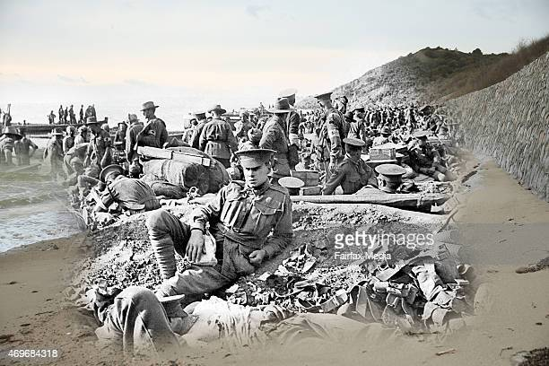 This digital composite image shows Australian soldiers including many wounded at Anzac cove on the first day of the Gallipoli Campaign and Anzac cove...