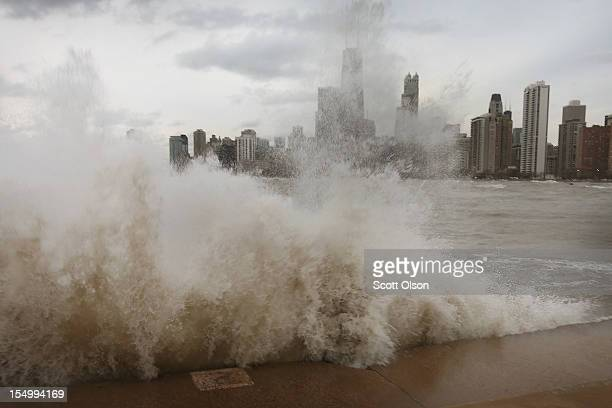 Waves generated from the remnants Hurricane Sandy crash into the shoreline of Lake Michigan on October 30 2012 in Chicago Illinois Waves up to 25...