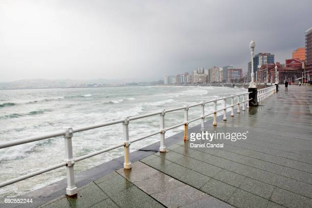 Waves in San Lorenzo beach during a storm, Gijon, Asturias (Spain)