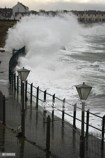 Waves lash the sea wall at Trearddur during high tide on March 10 2008 near Holyhead Wales Weather forecasters are saying parts of the UK are being...