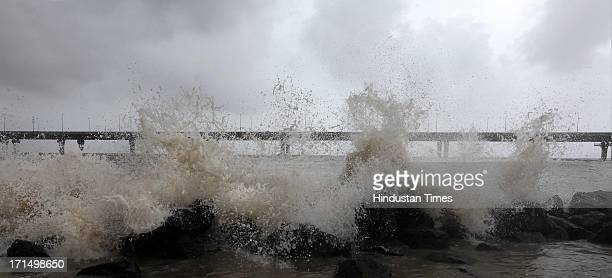 Waves lashes Bandra Worli beach during the high tide on June 25 2013 in Mumbai India The highest tide of the season peaked at 497m