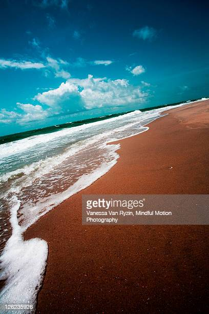 waves on sandy beach - vanessa van ryzin stock photos and pictures