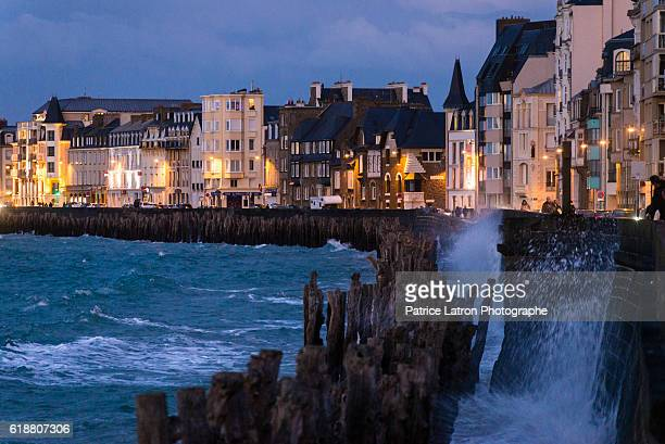 Waves on the sea wall of St Malo during big tides.