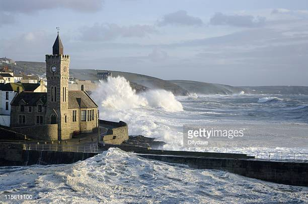 Waves over the rocks during a storm at Porthleven, Cornwall
