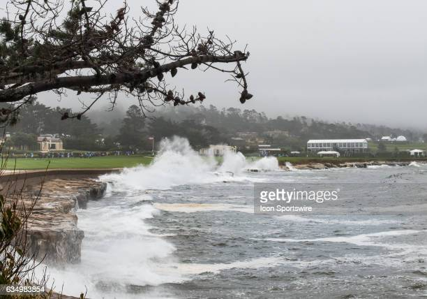 Waves pound the shoreline along the 18th fairway during the second round of the ATT Pebble Beach ProAm in Pebble Beach CA on Friday February 10 2017